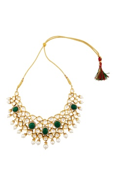 gold necklace with green onyx & kundan crystals