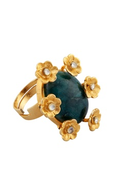 Rohita Green malachite ring with floral motifs