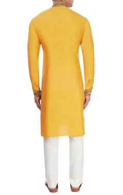 Mango yellow pipework kurta