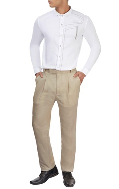 beige single pleat trousers