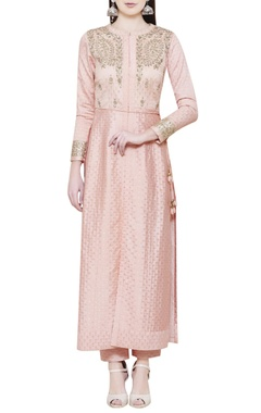 Pink jacket kurta with trousers