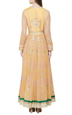 Yellow & pink embroidered anarkali set