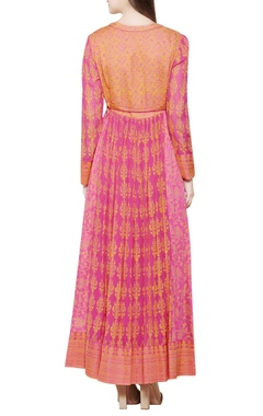 Pink & orange block printed anarkali set