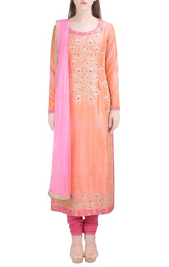 light orange embroidered kurta set