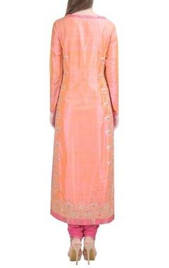 Light orange embroidered kurta set