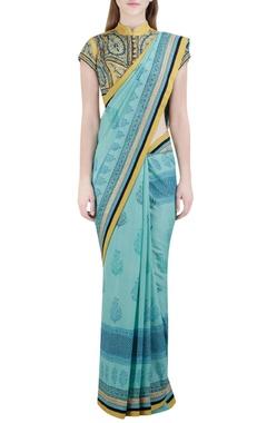 Blue floral block printed sari