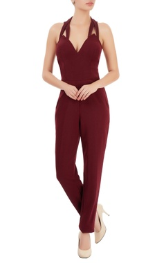 Wine red low back jumpsuit