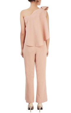 Peach one shoulder jumpsuit