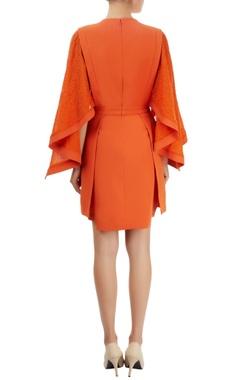 Orange dress with embellished sleeves
