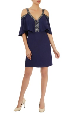 Navy blue cold-shoulder dress
