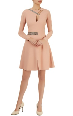 Peach embellished flared dress