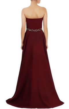 wine red asymmetric gown