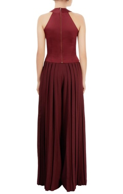 wine red top & pleated palazzos