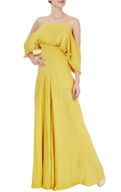 Mustard yellow cold-shoulder jumpsuit