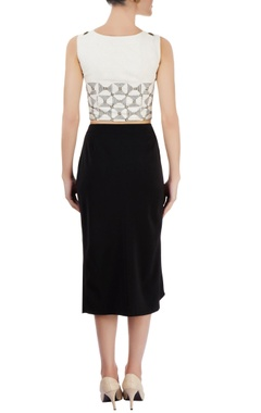 ivory cropped top & black ruffle skirt