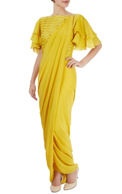 Canary yellow sari with blouse