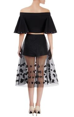 black off-shoulder top with mesh skirt