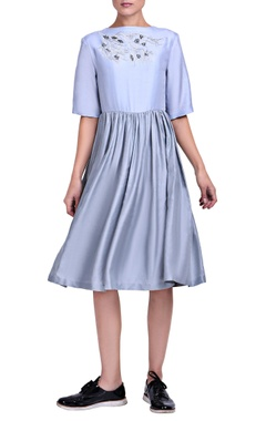 powder blue dress with embroidery