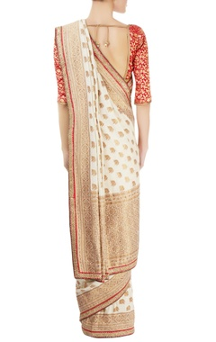 Red & white sari with gold work