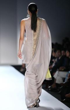 silver sari with waistcoat choli