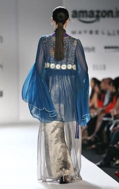 teal blue angrakha with silver palazzos