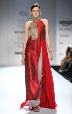 maroon embellished kurta with grey palazzos