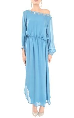 lapis blue one shoulder dress