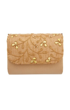 Beige clutch with dori work