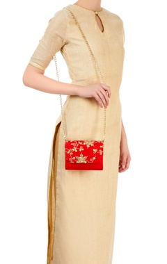 Red clutch with dori work