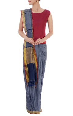 Blue striped sari with red blouse