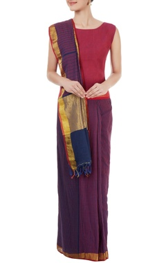 Purple & blue striped sari