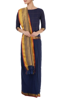 Blue sari with gold pallu & checkered blouse