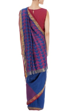 Blue sari with red stripes & triangle pattern