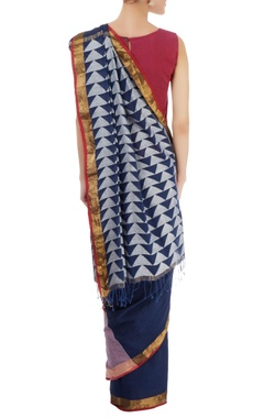 Navy blue sari with stripes & triangle pattern
