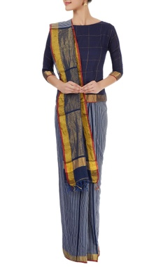 Navy blue striped sari with gold border