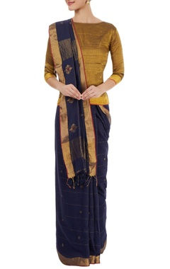 Navy blue sari with motif details