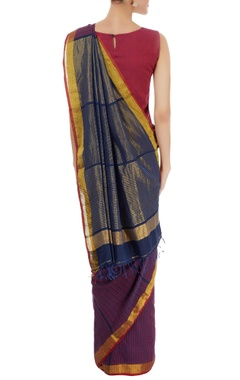 Navy blue & purple striped sari
