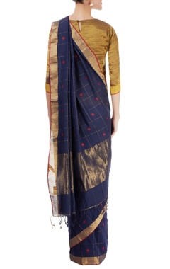 Navy blue checked sari with red motifs