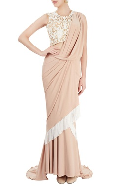 white & beige sari gown with tassels