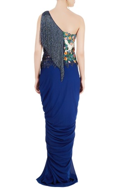 navy blue draped gown with sequin tassels