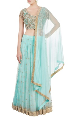 Sonaakshi Raaj Aqua blue embroidered lehenga set