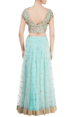 Aqua blue embroidered lehenga set