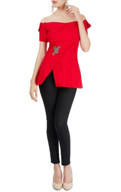 Sonaakshi Raaj Red off-shoulder flap top