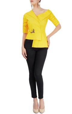 Sonaakshi Raaj Yellow top with asymmetric neckline