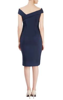 Navy blue dress with beetle motif