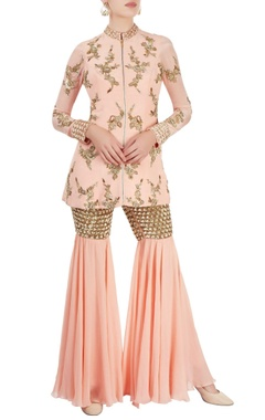 Sonaakshi Raaj Peach sharara set with sequined embroidery