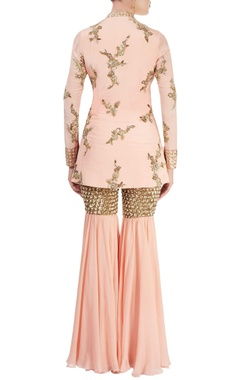 Peach sharara set with sequined embroidery