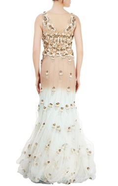Beige, white & blue gown with embellishments