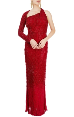 Sonaakshi Raaj Red straight fit gown