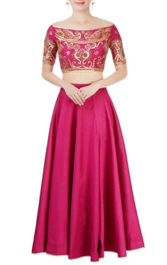 Wine embellished lehenga set